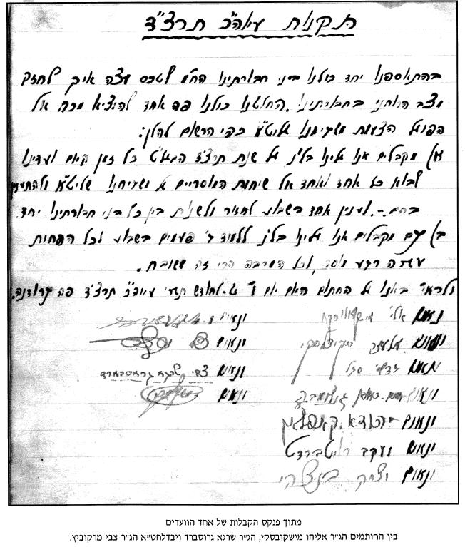 Page from Vaad Notebook from Yeshivas Shaar haTorah, Grodna